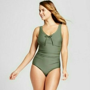 NWT Merona Green Scallop Lace Up One Piece S